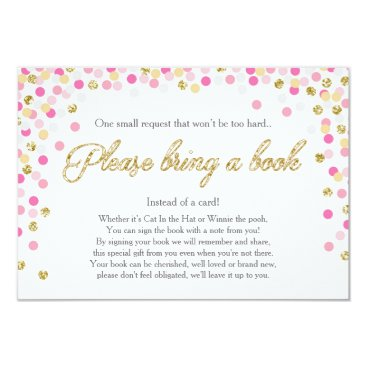 Toddler & Baby themed Baby Shower Bring a book Pink Gold Glitter Girl Card