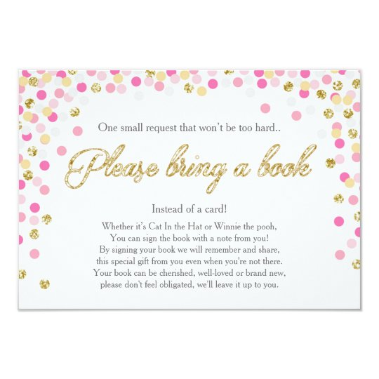 Baby Shower Bring A Book Pink Gold Glitter Girl Card Zazzle