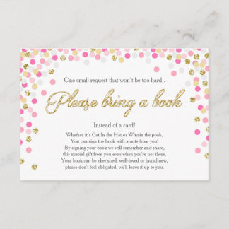 Baby Shower Bring a book Pink Gold Glitter Girl Enclosure Card