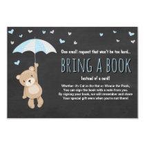Baby Shower Bring a Book Teddy Bear Blue Umbrella Card