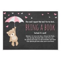 Baby Shower Bring a Book Teddy Bear Pink Umbrella Card