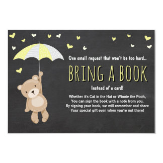 Baby Shower Bring a Book Teddy Bear Yellow Neutral Card