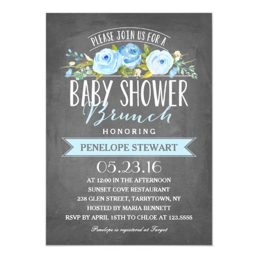 Baby Shower Brunch Blue Baby Shower Invitation