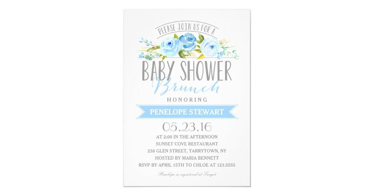 baby shower brunch blue baby shower invitation zazzle