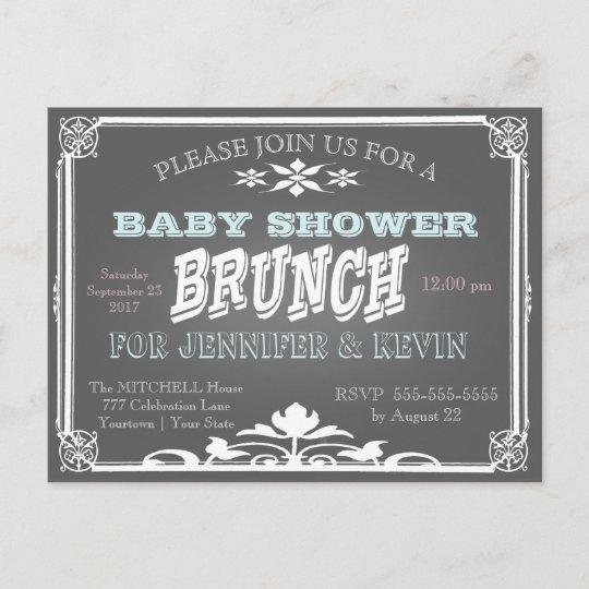 Baby Shower Brunch Chalkboard Invitation Postcard