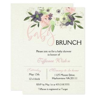 Baby Shower Brunch Invitation Floral Pink Girl