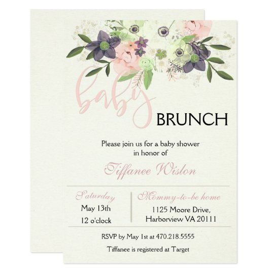 Baby Shower Brunch Invitation Floral Pink Girl Zazzle Com