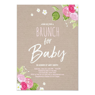 Baby Shower Brunch Invitation Floral Rustic Pink