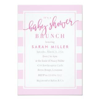 Baby Shower Brunch Invitation Stripes Girl