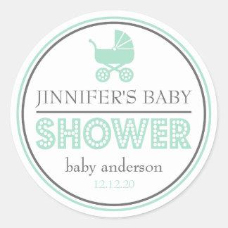 Baby Shower Buggy Favor Sticker (Green / Gray)
