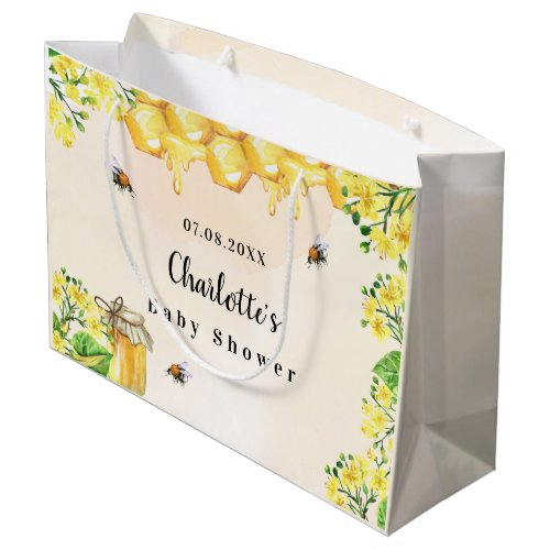 Baby Shower bumble bees honey yellow florals name Large Gift Bag