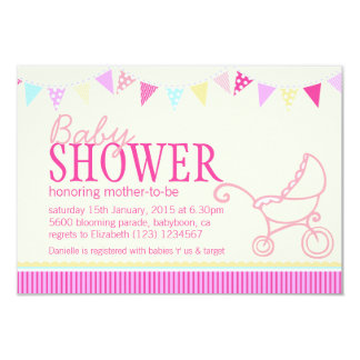 Baby shower bunting stroller pink yellow invite