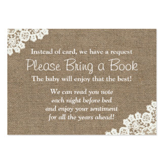 Baby Shower Burlap & Lace Bring a Book Request Large Business Card