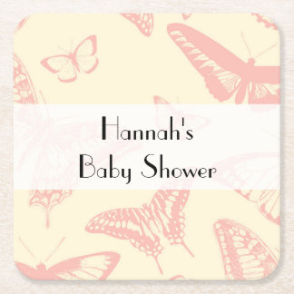 Baby Shower - Butterfly (Butterflies) - Pale Pink Square Paper Coaster