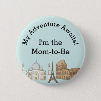 Baby Shower Button- Travel Themed Pinback Button