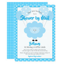 Baby Shower by Mail, Cute Blue Lamb Simple Modern Invitation
