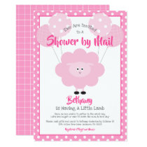 Baby Shower by Mail, Cute Pink Lamb, Simple Modern Invitation