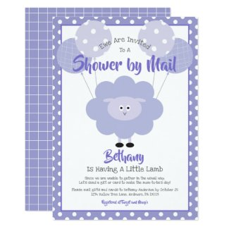 Baby Shower by Mail Invitation Cute Purple Lamb Simple Modern
