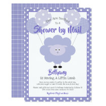 Baby Shower by Mail Cute Purple Lamb Simple Modern Invitation