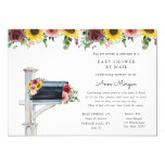 Baby Shower by Mail Rose and Sunflowers in Mailbox Invitation