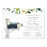 Baby Shower by Mail White Flowers in Mailbox Invitation
