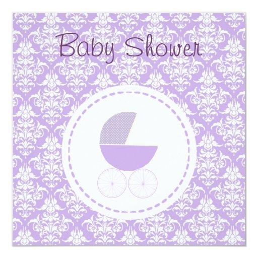 baby shower carriage invitation purple zazzle