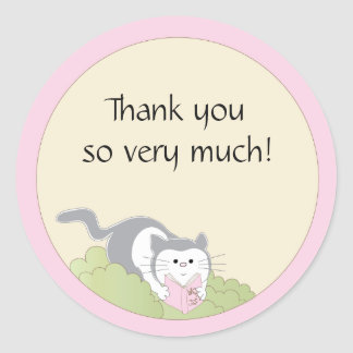"Baby Shower ""Cat/Pink/Book"" Stickers 1 1/2"" or 3"""