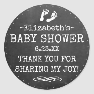 Baby Shower Chalkboard Look White Thank You Favor Classic Round Sticker