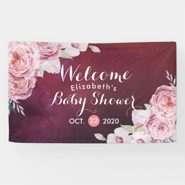 Baby Shower Chic Boho Floral Feathers Burgundy Red Banner