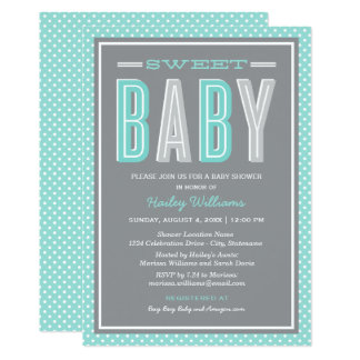 Baby Shower | Chic Type in Aqua and Gray Card