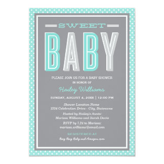 Baby Shower | Chic Type in Aqua and Gray 5x7 Paper Invitation Card