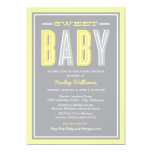 Baby Shower   Chic Type in Yellow and Gray 5x7 Paper Invitation Card