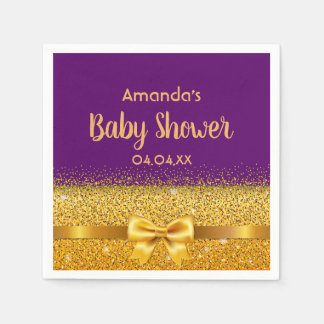Baby Shower chic violet purple with faux gold bow Napkin