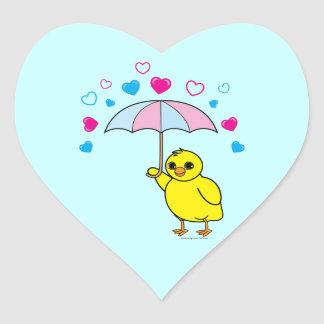 Baby Shower: Chick and Hearts Blue Heart Sticker