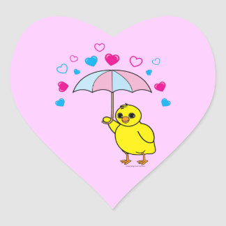Baby Shower: Chick and Hearts Pink Heart Sticker