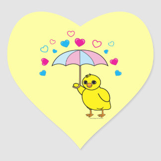 Baby Shower: Chick and Hearts Yellow Heart Sticker