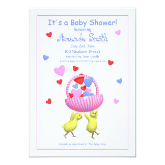 Baby Shower Chicks Hearts Basket Card
