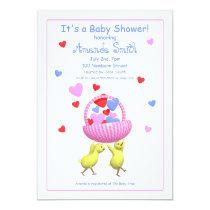 Baby Shower Chicks Hearts Basket Invitation
