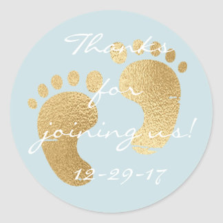 """Baby Shower """"Classic Gld/Bl"""" Stickers 1 1/2"""" or 3"""""""
