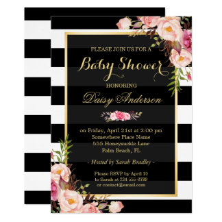 Baby Shower Classy Floral Gold Black White Stripes Card