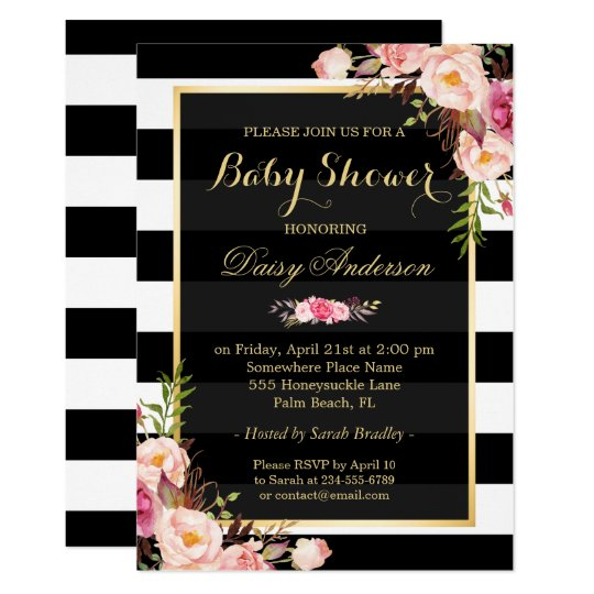 Baby shower classy floral gold black white stripes card zazzle baby shower classy floral gold black white stripes card filmwisefo Images