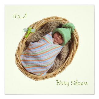 Baby Shower:Clay Baby In Basket: Sculpture Card