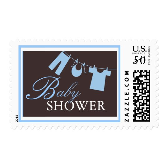 Baby Shower Clothes Line in Blue Postage