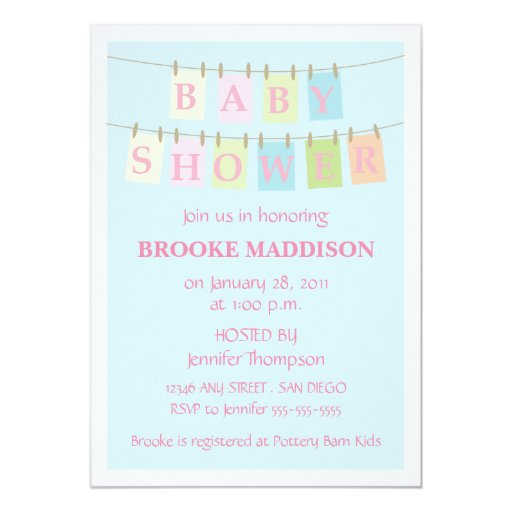 baby shower clothesline pink card zazzle