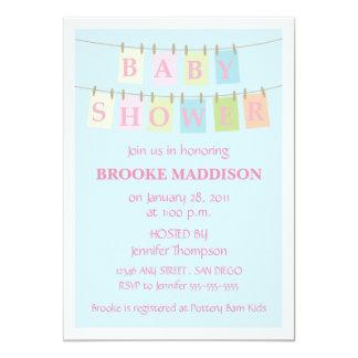 Baby Shower Clothesline-pink Custom Invitation