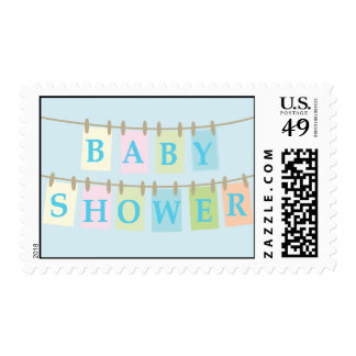Baby Shower Clothesline Postage-blue