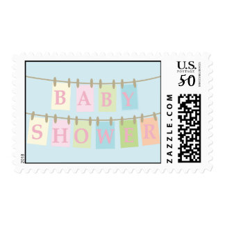 Baby Shower Clothesline Postage-pink Postage