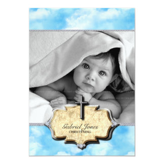 Baby Shower Clouds Christening Celebration Baptism 5x7 Paper Invitation Card