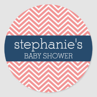 Baby Shower Collection - Coral and Navy Chevrons Classic Round Sticker