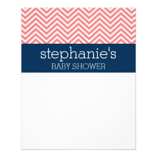 Baby Shower Collection - Coral and Navy Chevrons Flyers